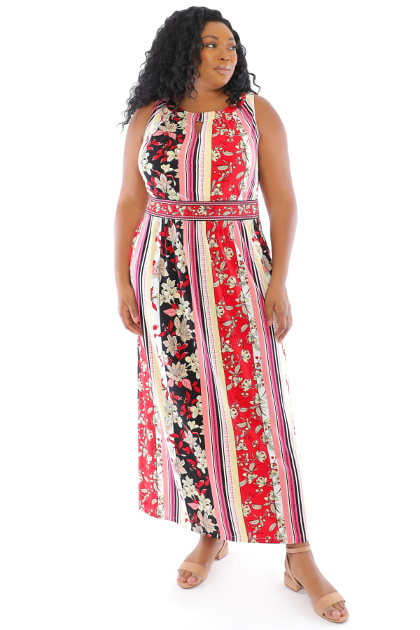 Keyhole Neck Floral Stripe Maxi Dress - White / Red - Front