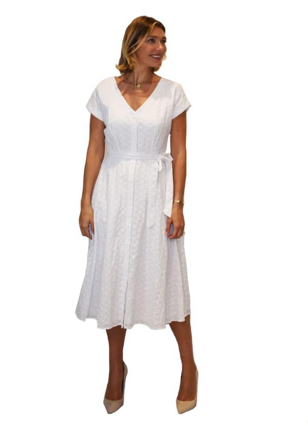 V-Neck Button Front Dress