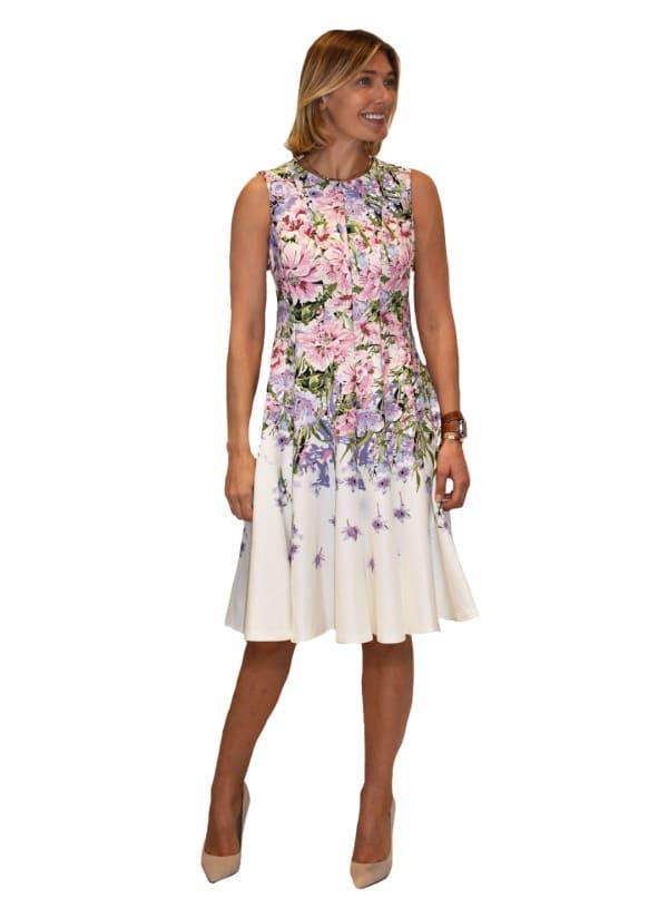 Floral Print Scuba Border Dress - Ivory / Rose - Front
