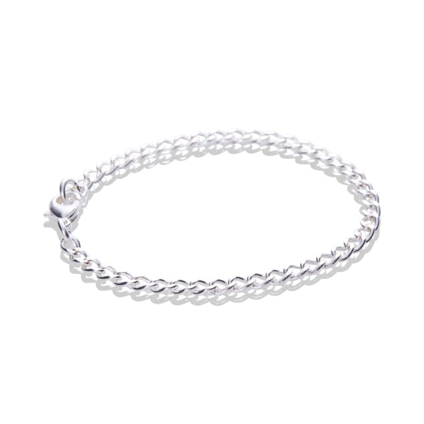 Sterling Silver Plated Fine Flat Cable Chain Bracelet