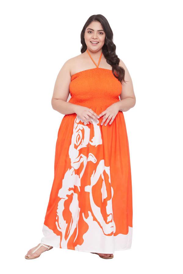Flora Rose Print Tube Dress - Plus
