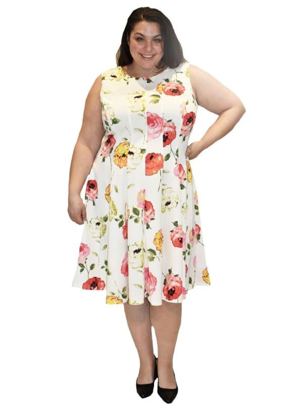 Floral Printed Scuba Dress - Plus