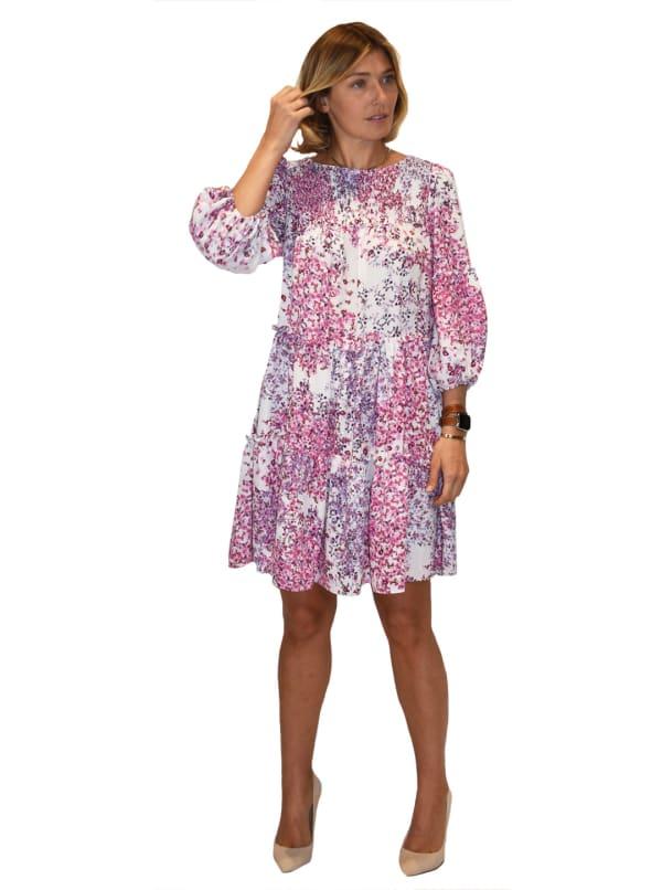 Allover Floral Babydoll Dress - Ivory / Pink - Front