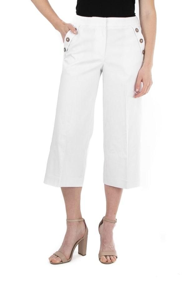 Zac & Rachel  Crop Pants with Button Trim Detail - Optic White - Front