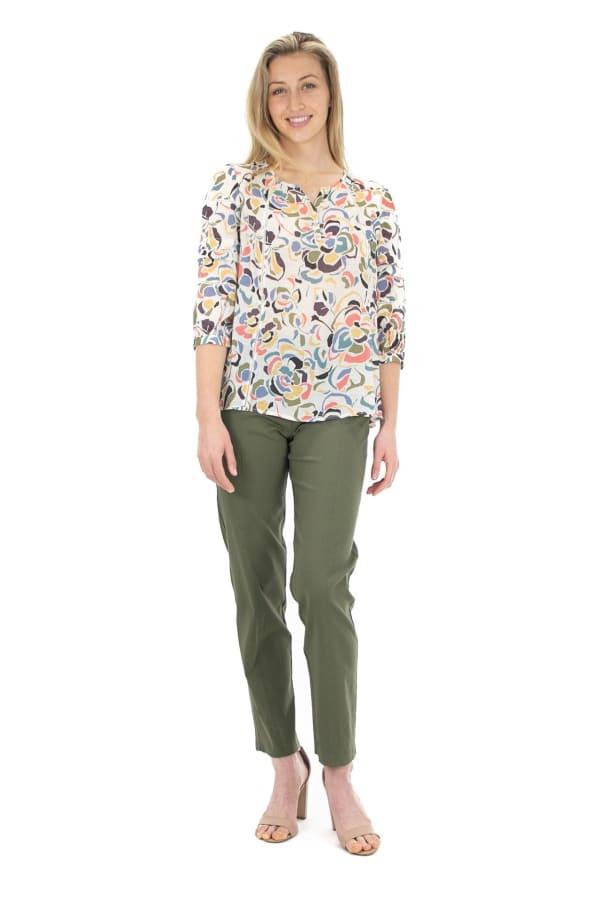 Zac & Rachel Modern Floral Popover Blouse - Sugar Swizzle Multi - Front