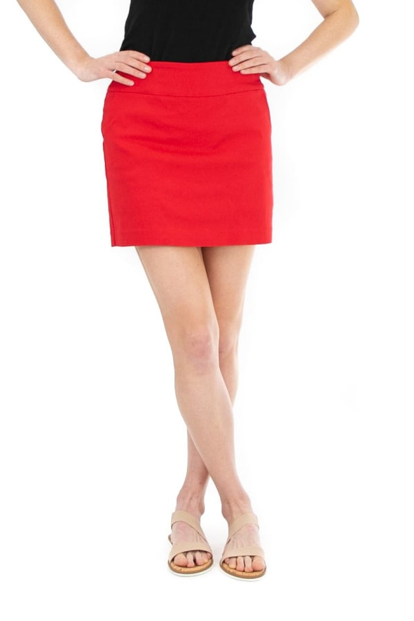 Zac & Rachel Pull On Solid Skort with Pockets - Racing Red - Front