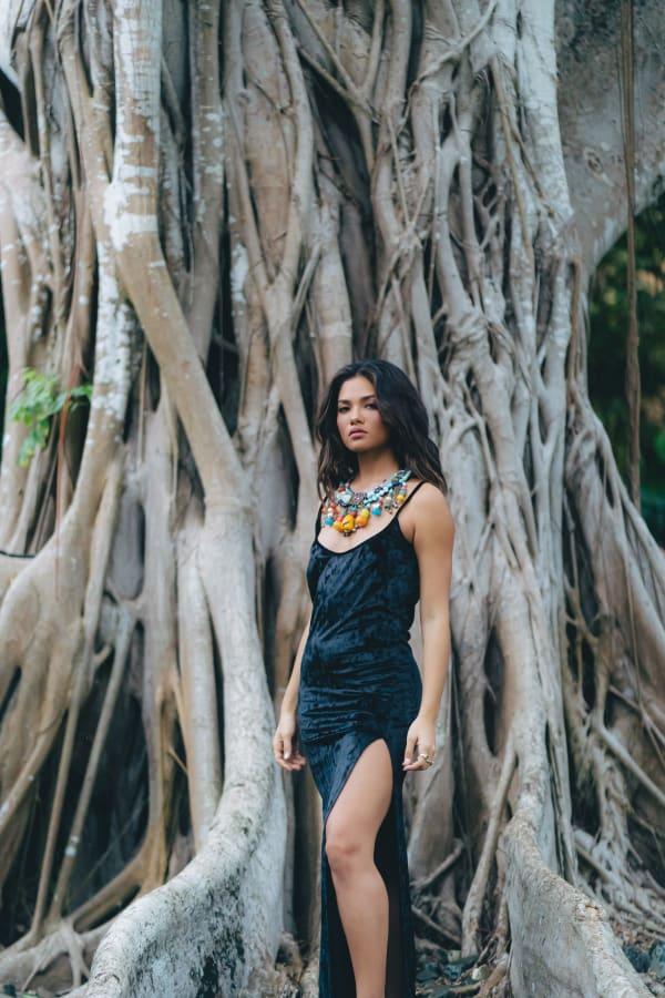 Jewel Slip Dress in Crushed Velvet - Black - Front