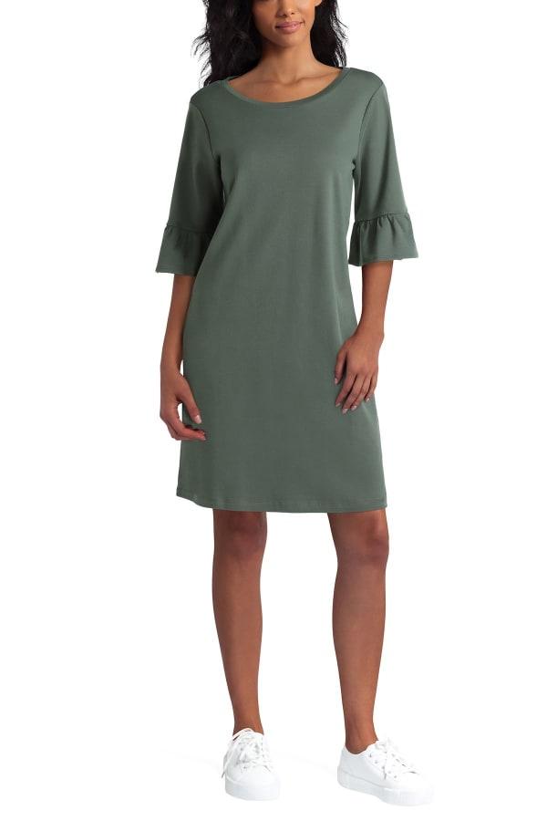 Isaac Mizrahi Flounce Cotton Dress - Thyme - Front
