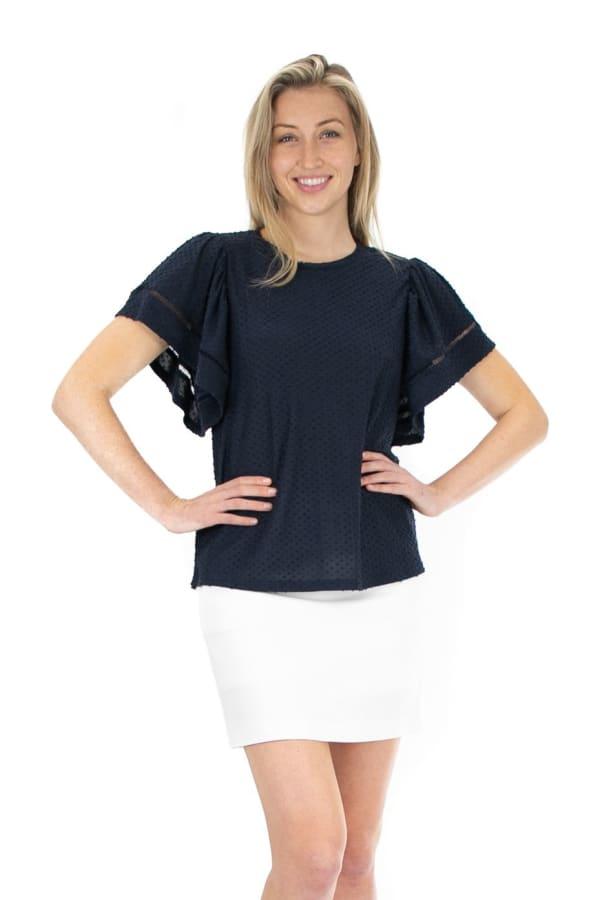 Zac & Rachel Clip Dot Knit Top - Navy Blazer - Front