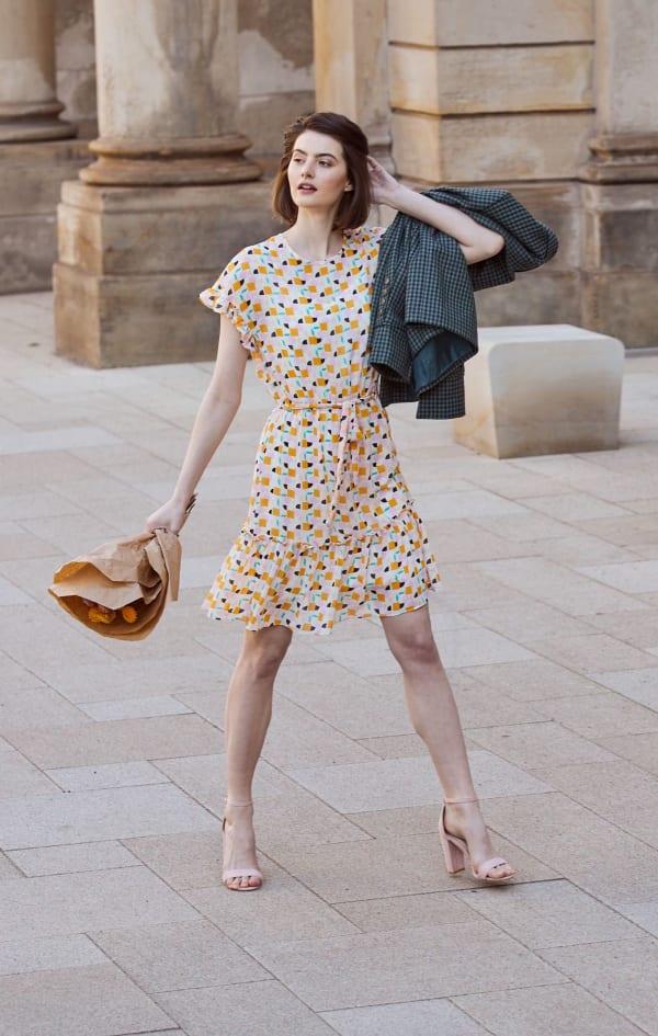 Audrey Drop Shoulder Jewel Neck Elastic Waist Ruffle Dress