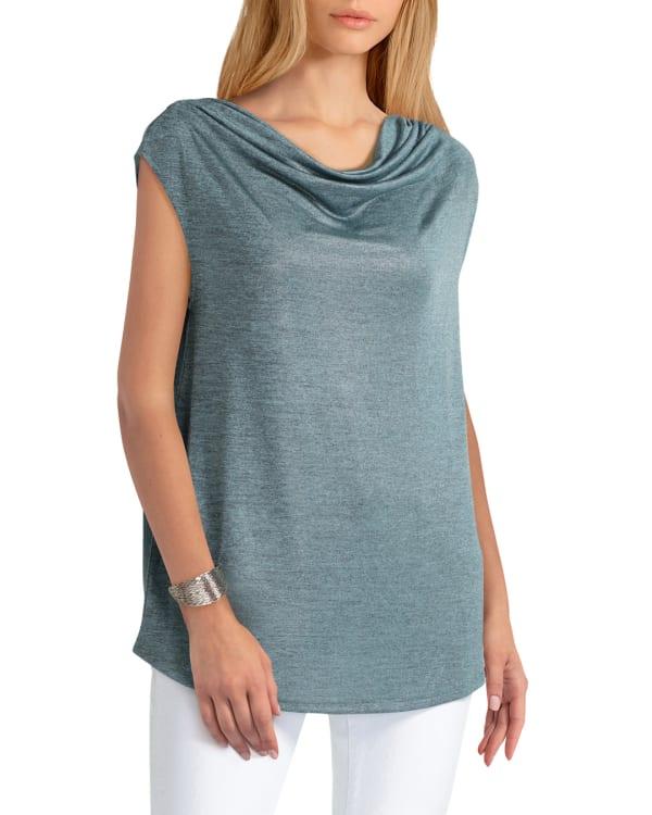 H Halston Knit Drape Neck Pullover - Marine Blue - Front