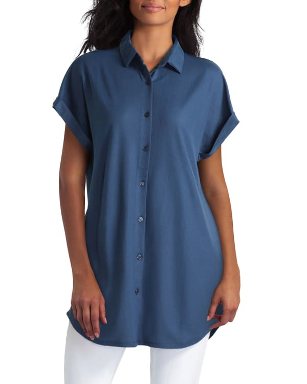 H Halston Collared Extended Shoulder Tunic