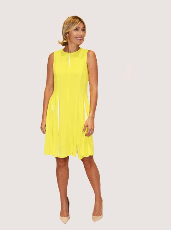 Taylor Dresses Color Block Fit & Flare Dress - Citron / Ivory - Front