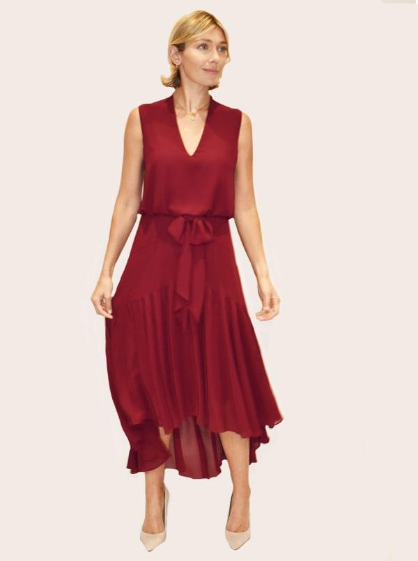 Taylor Dresses Midi Chiffon Dress With Self Bow - Majestic Wine - Front