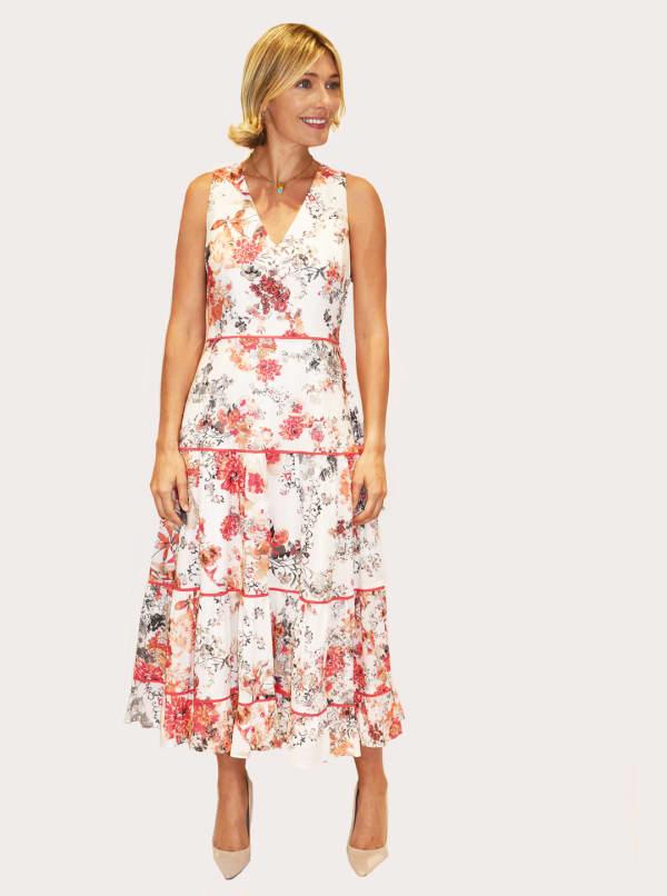 Taylor V-Neck Midi Cotton Voile Dress