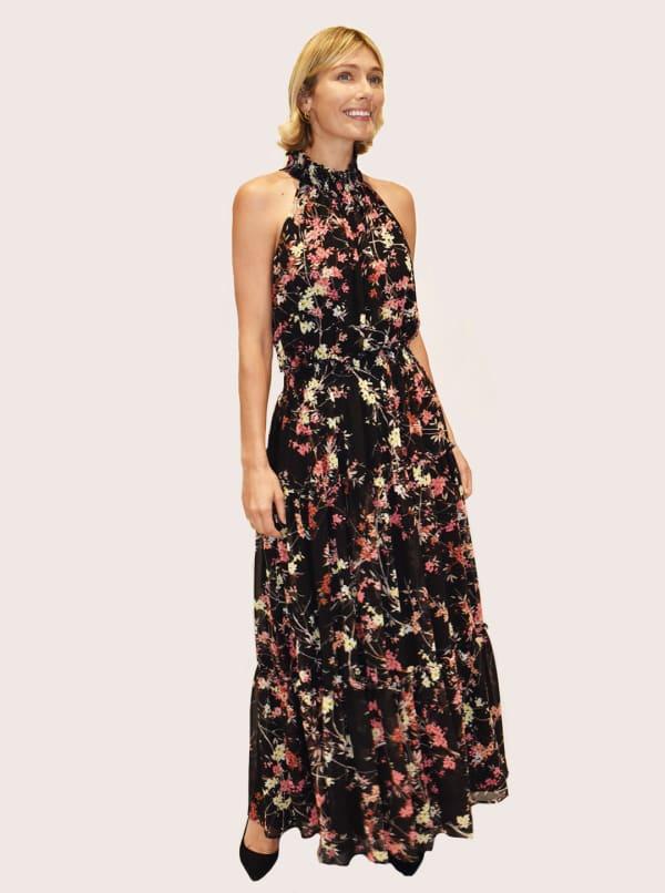 Taylor Dresses Cut Away Floral Print Maxi Dress - Black / Carnation - Front