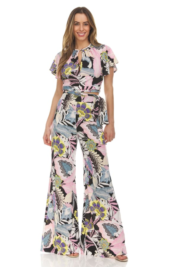 Floral Print Tie Front Blouse With Wide Leg Pant