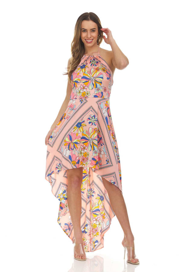 Scarf Print Hi-low Maxi Dress