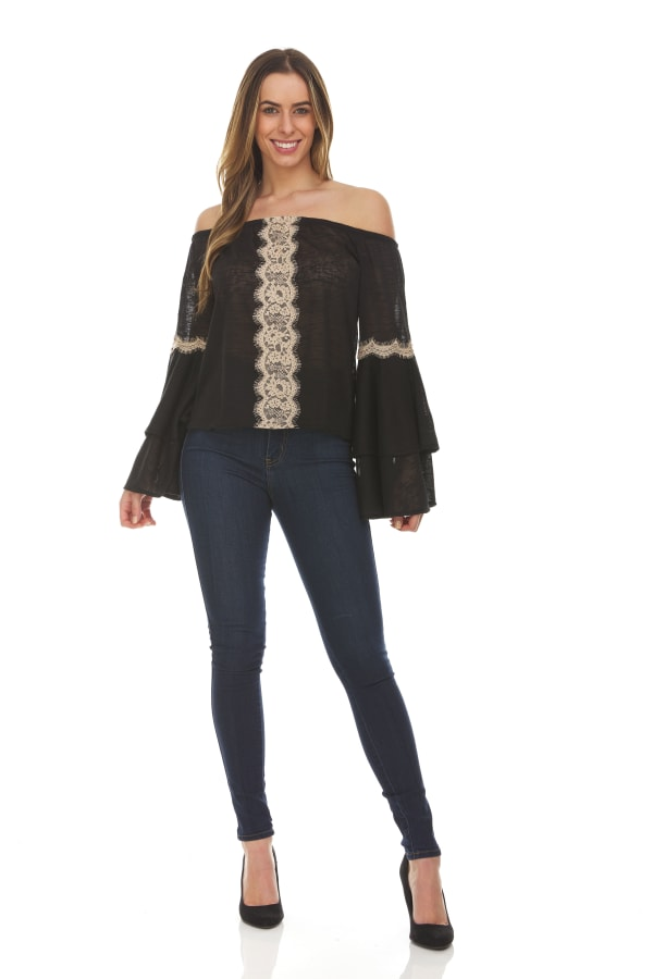 Solid Off The Shoulder Top With Lace Trim - Black - Front