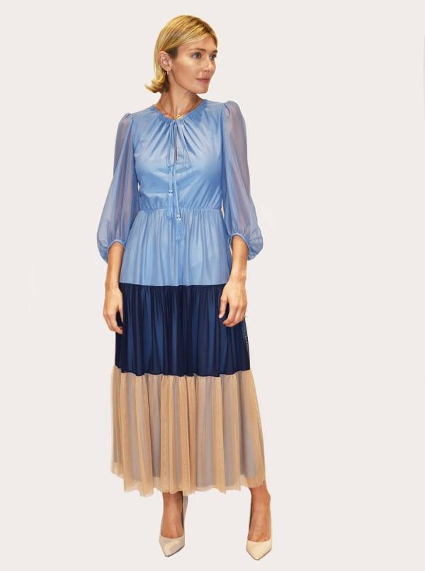 Taylor Dresses Long Sleeve Round Neck Dress - Dusty Peri / Navy - Front