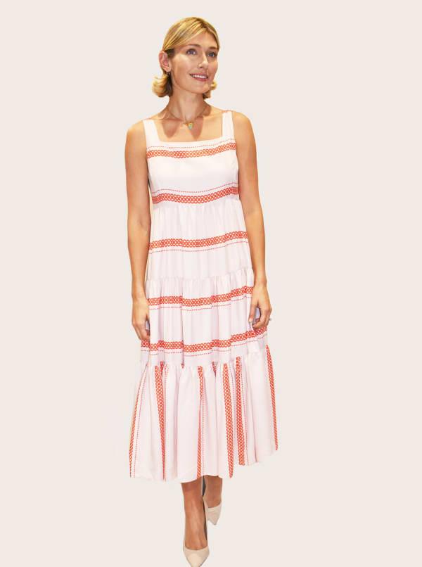 Taylor Dresses Sleeveless Square Neck Stripe Midi Satin Dress - True Blush / Red Rose - Front