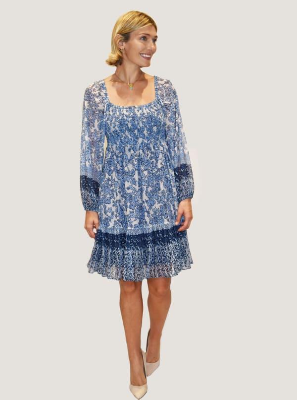 Taylor Dresses Printed Mesh Short Dress - Ivory / Denim - Front