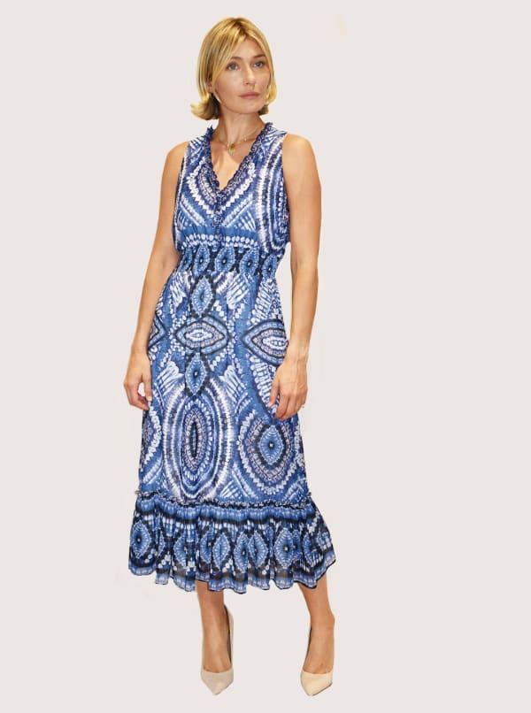 Taylor Sleeveless V-Neck Medallion Print Voile Midi Dress
