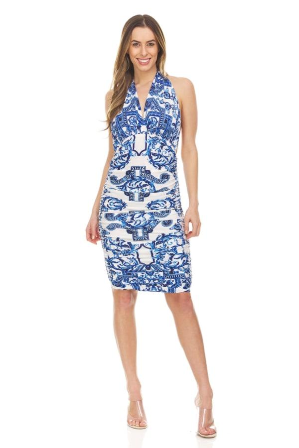 Blue Ivory Printed Halter Dress