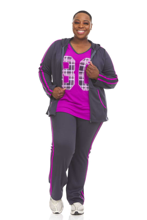 Hoodie Jog Set With Trim On Top And Pant - Plus