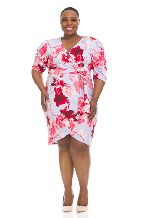 Floral Print Faux Wrap Dress - Plus