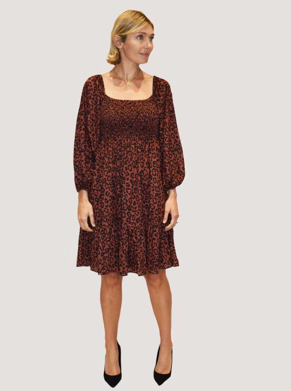 Taylor Animal Print Smocked Dress