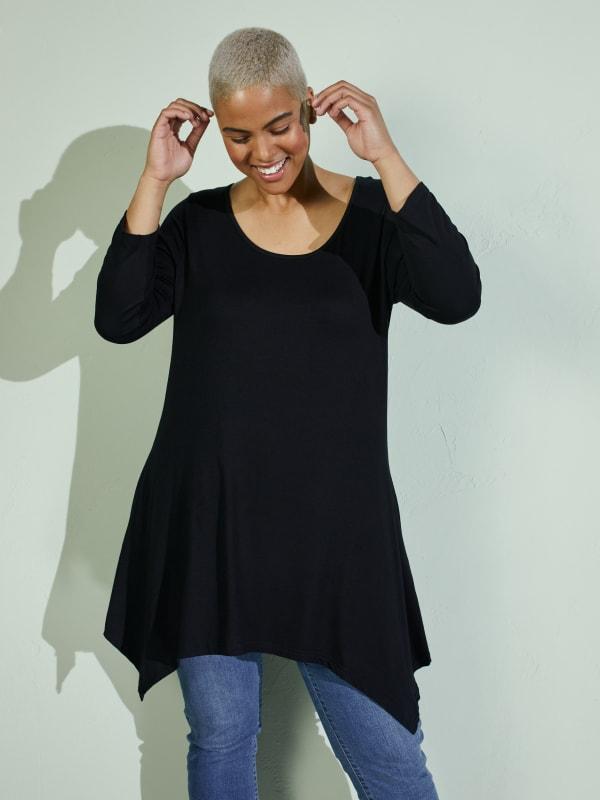Makayla 3/4 Sleeve Tunic Top - Plus