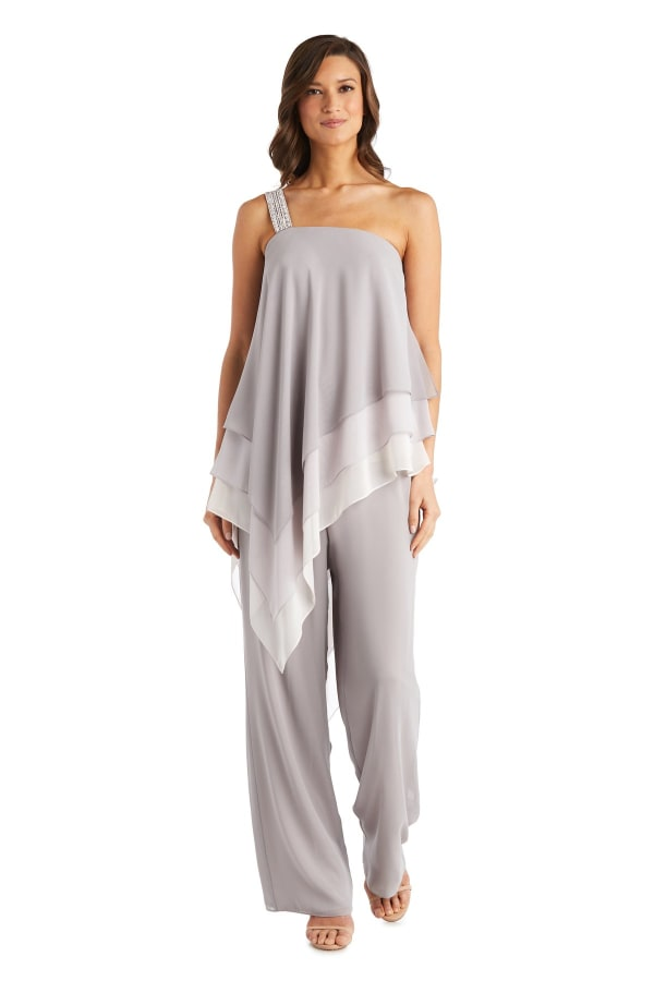 Chiffon Pantsuit With Ombre Asymmetric Top - Taupe - Front