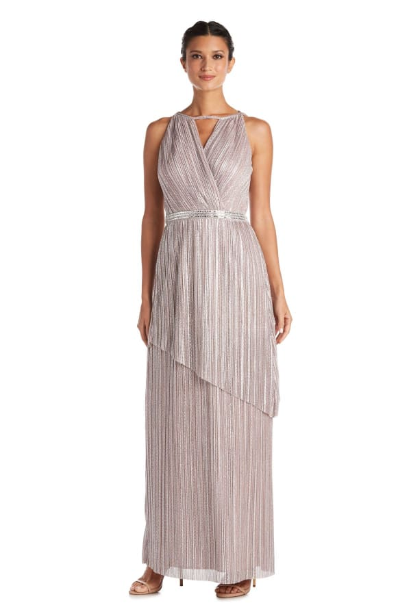 Asymmetric Crinkle Gown With Rhinestone Waist Detail - Mauve - Front