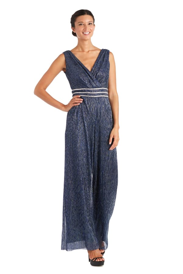 Festival Crinkle Jumpsuit with Rhinestone Detail - Blue - Front