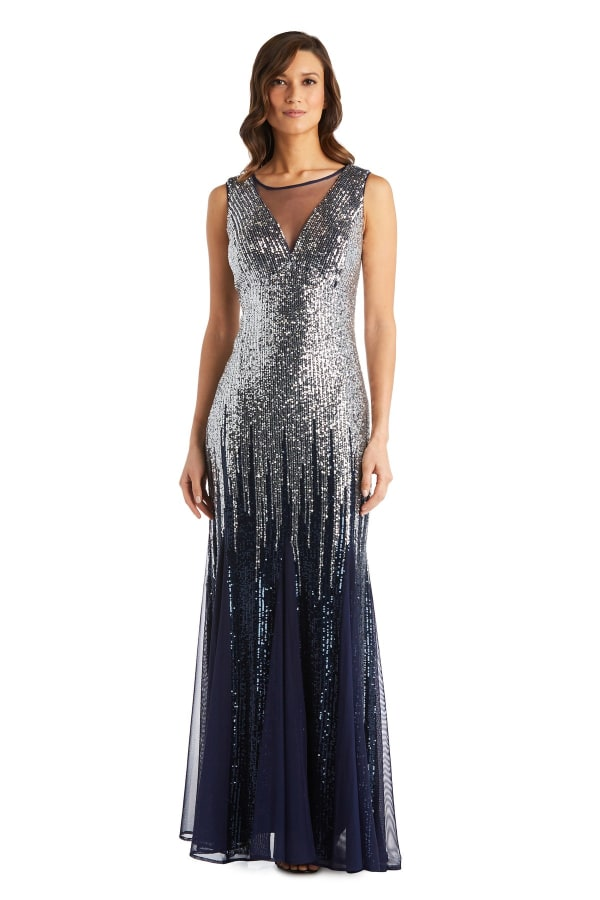 Long Sequin Beaded Dress - Navy / Silver - Front