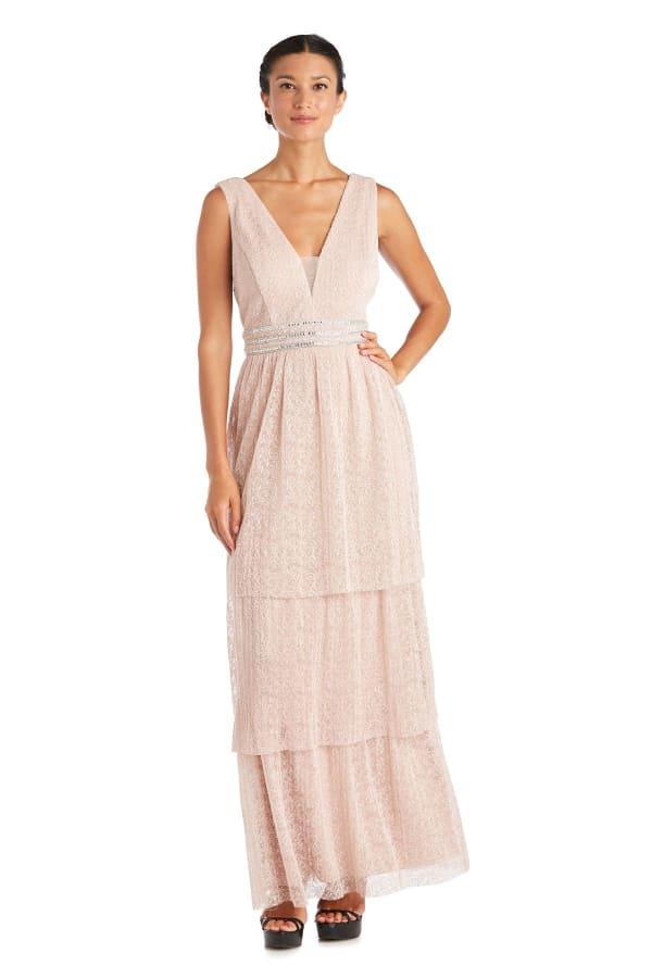 Long Crinkle Lace Sleeveless Dress - Blush - Front
