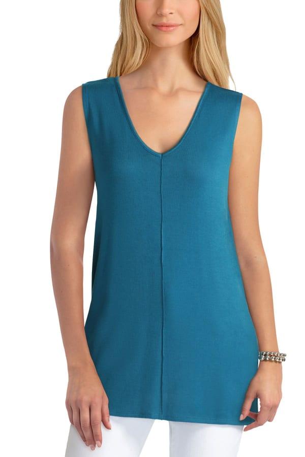 Isaac Mizrahi V-Neck Cotton Pullover Top - Deep Lagoon - Front