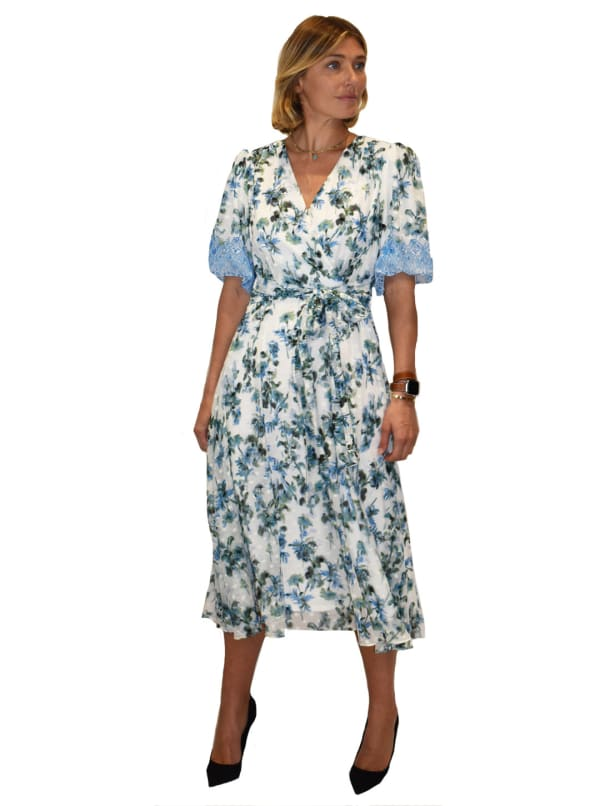 Floral Puffy Sleeve V-Neck Dress