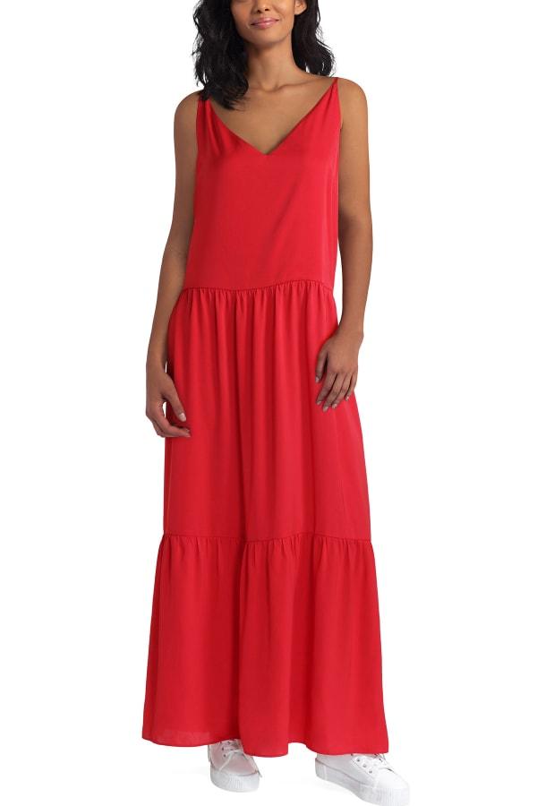 Gigi Parker Tiered Maxi Polyester Dress - Floral Batik Classic Navy - Front