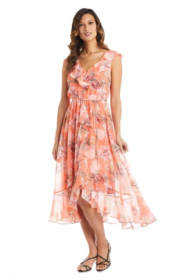 Coral Floral Chiffon Ruffle Wrap Dress