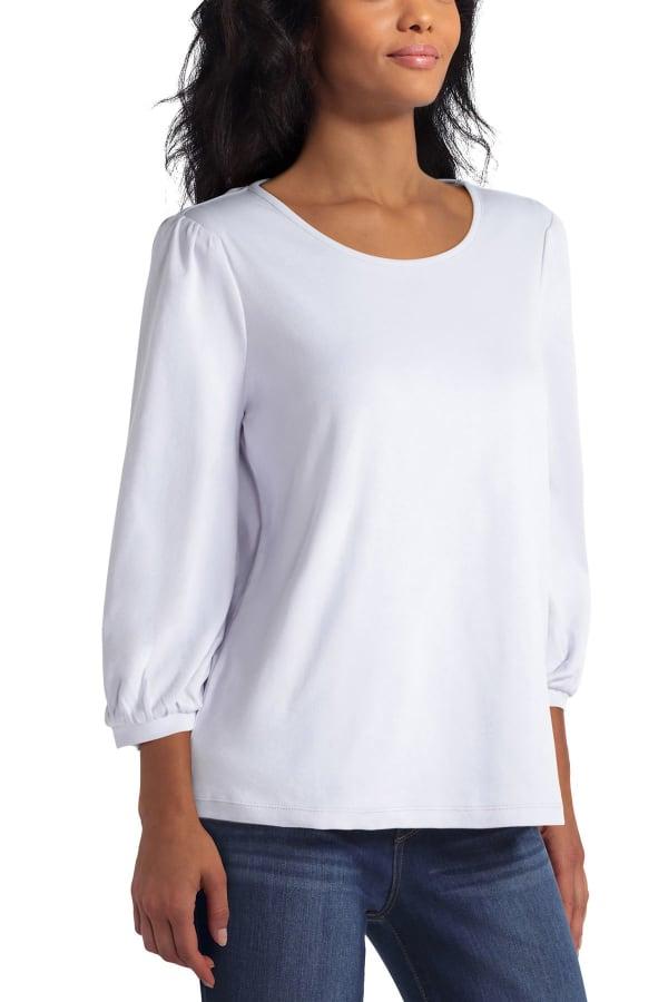 Isaac Mizrahi Puff Sleeve Cotton Pullover Top