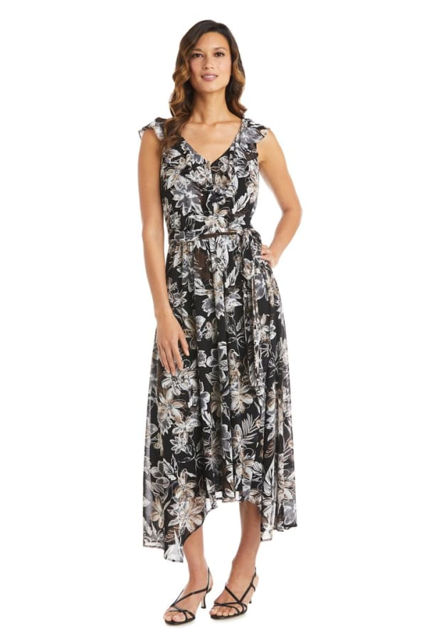 Ruffle High-Low Daytime Dress - Black / Taupe - Front