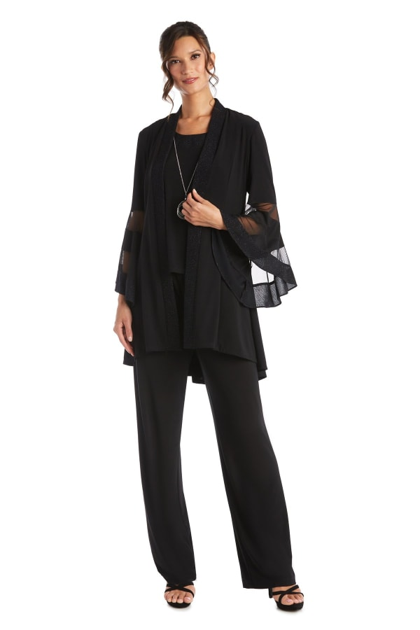 Three-Piece Duster Pant Set with Detail Trim - Black - Front