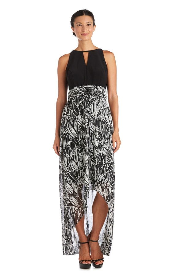 High-Low Floral Print Maxi Dress - Black / Taupe - Front