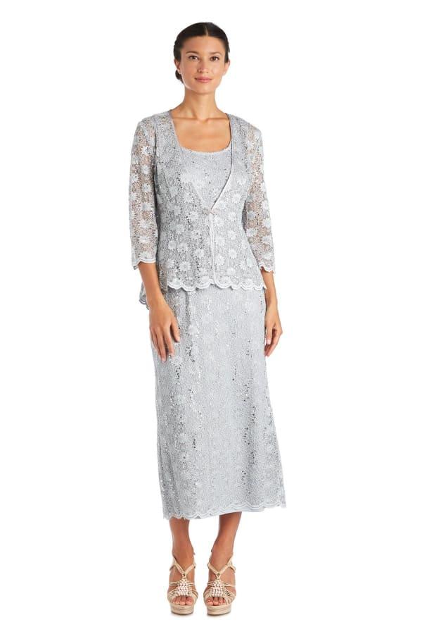 Fishtail Lace Jacket Dress - Sage - Front