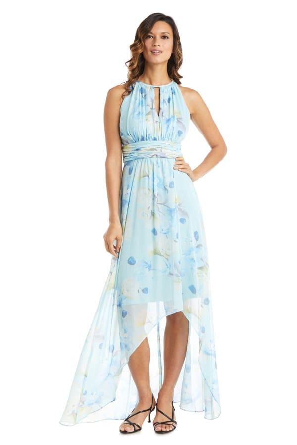 High-Low Floral Print Chiffon Dress - Aqua - Front