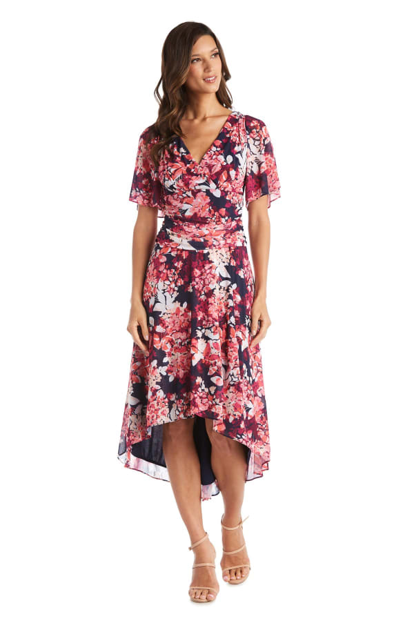 High-Low Daytime Print Bell Sleeve Dress - Fuchsia - Front
