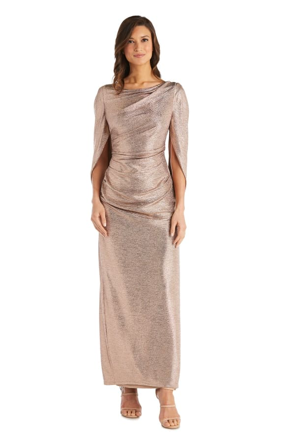 Long Dress with Back Drape Sleeves - Rose / Gold - Front