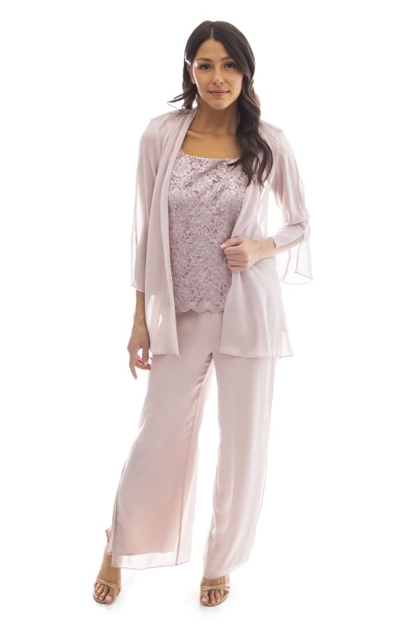 Three-Piece High-Low Duster Pant Set - Blush - Front